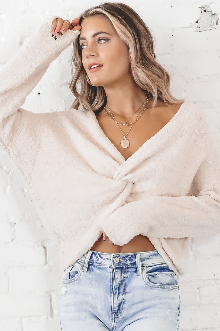Twist And Shout Knot Cream Sweater