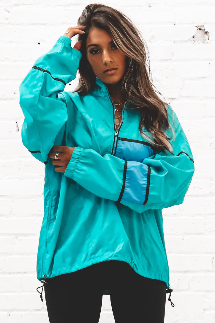 VINTAGE 90's Blue And Teal Nike Half Zip Windbreaker 158