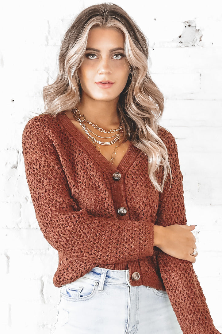 Fall Breeze Burl Wood Knit Cardigan