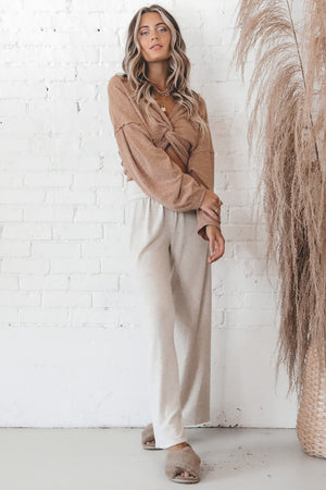 Ask Me Tomorrow Oatmeal Flare Lounge Pants