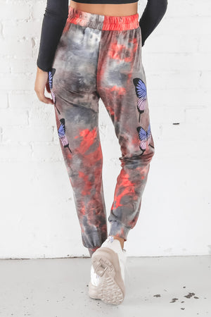 Tell Em Boy Bye Red Tie Dye Butterfly Joggers