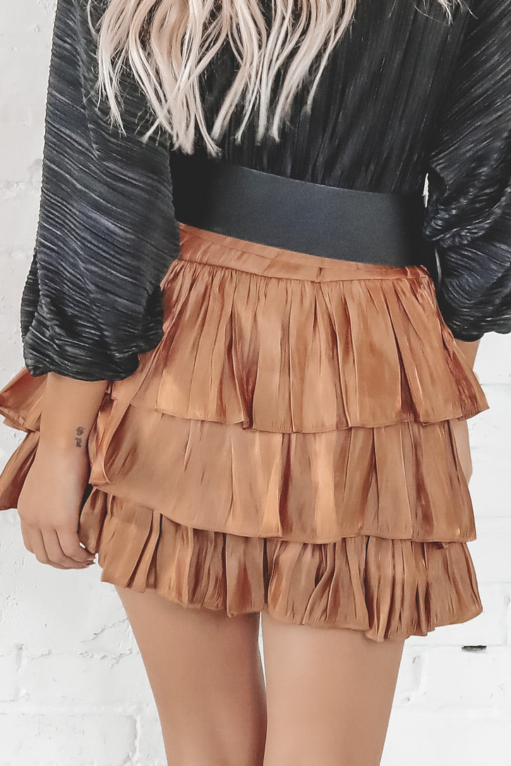 The Night Is Still Young Bronze Ruffled Mini Skirt