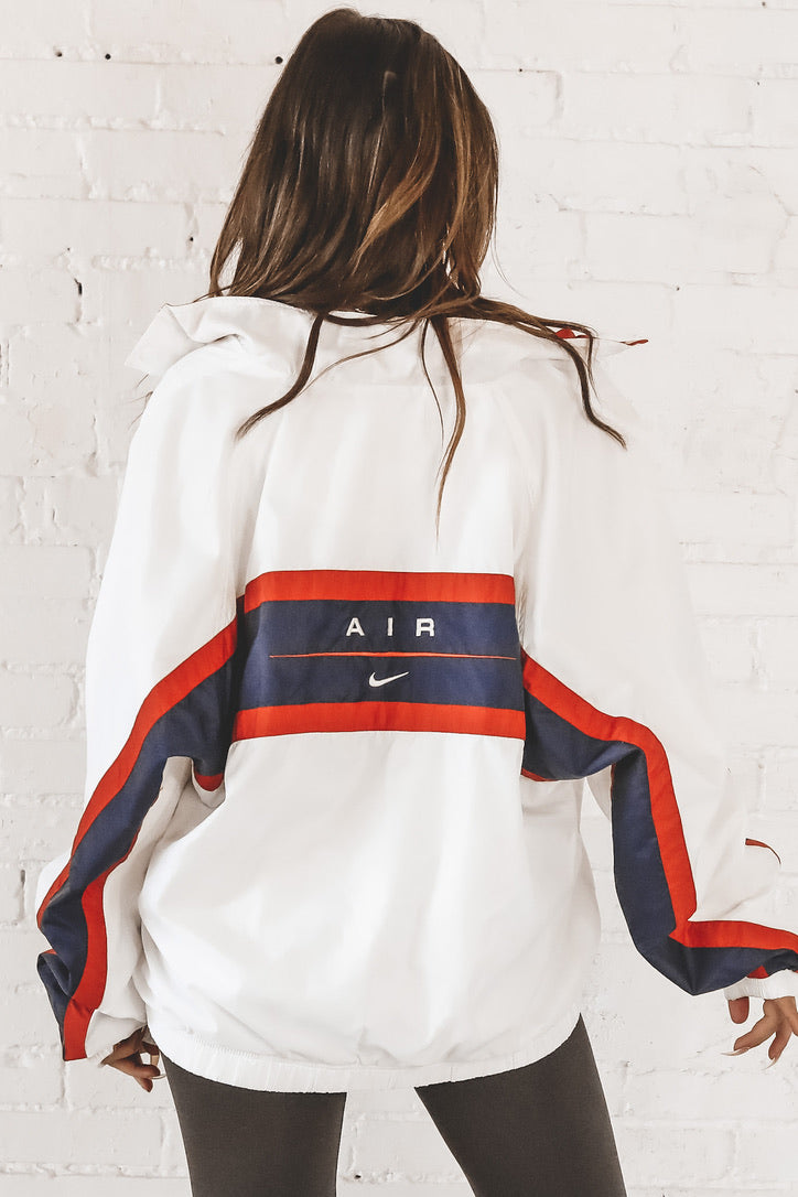 VINTAGE 90's White And Navy Nike Full Zip Windbreaker 156