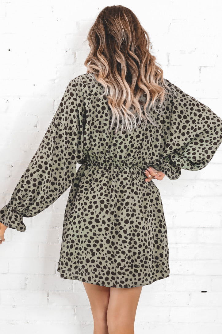 Go With The Flow Olive Printed Dress
