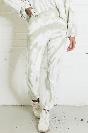 Pack Your Bags Off White And Pistachio Tie Dye Joggers