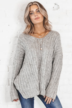 Little Get Together Gray Oversized Sweater