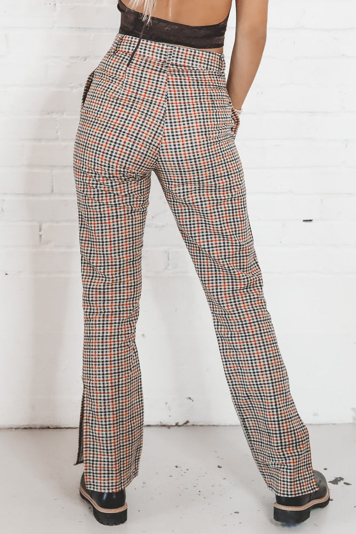 MOTEL Gira Split Hem Trouser In Country Check