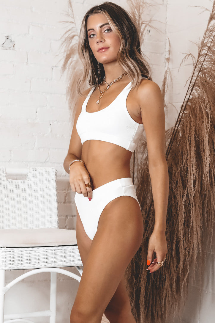 Salty About It White Bikini Top