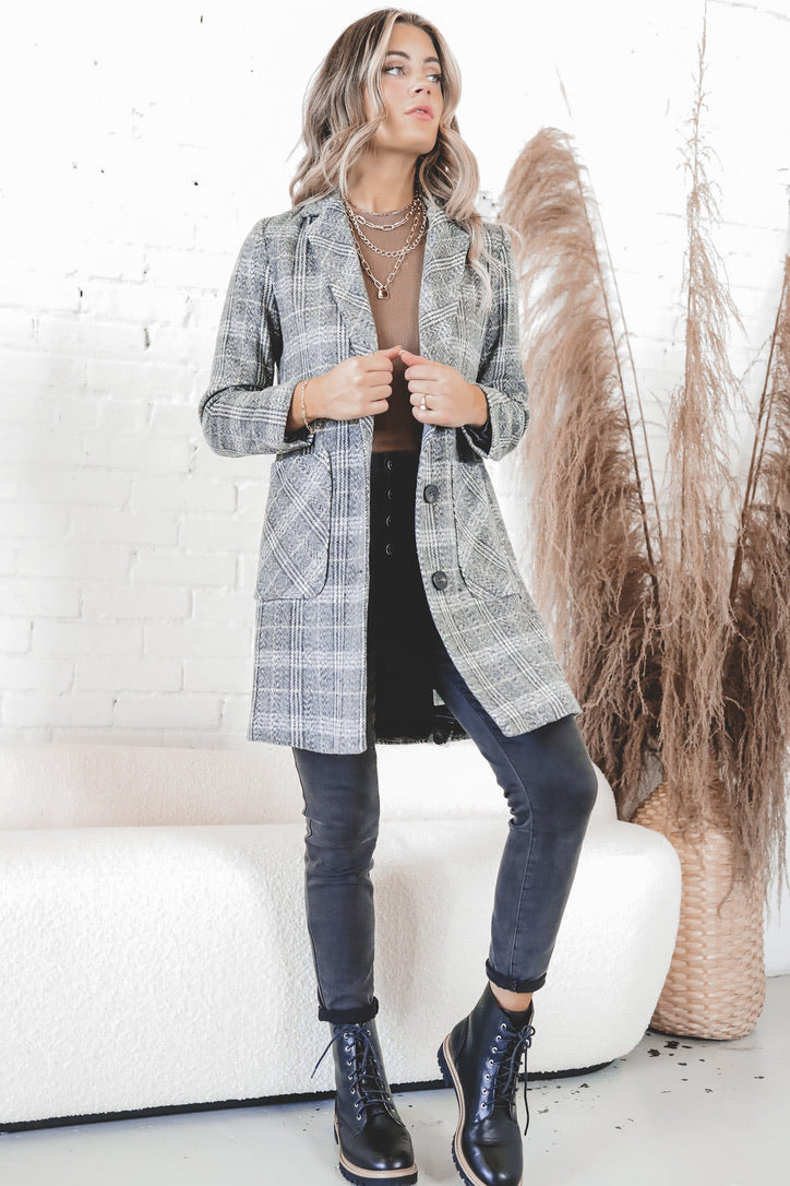 Point To Prove Gray Plaid Blazer