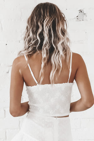Tea Party White Eyelet Crop Top