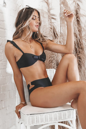 Ruffle My Way Black Bikini Top