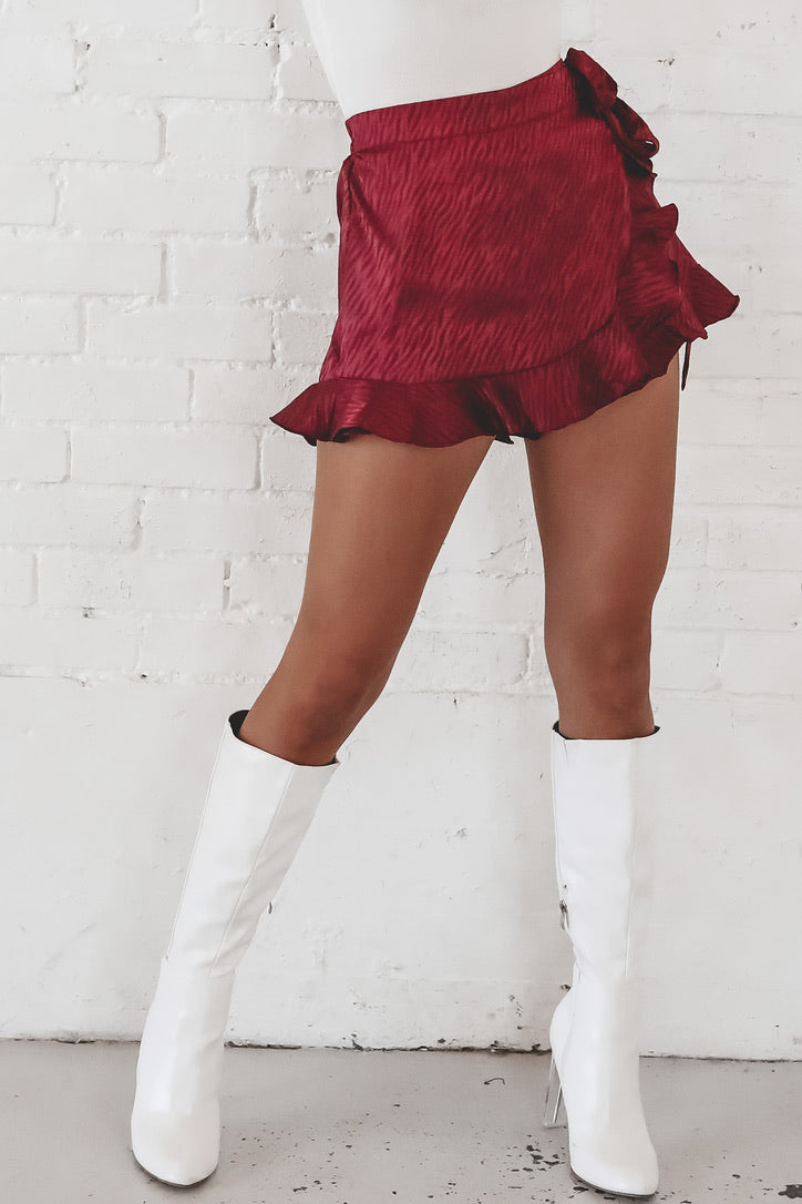Two Glasses Of Wine Wrap Ruffle Skort