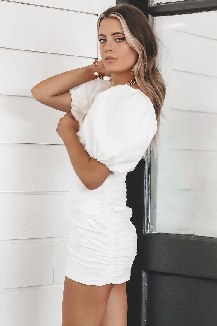 Romance Is In The Air White Ruched Dress