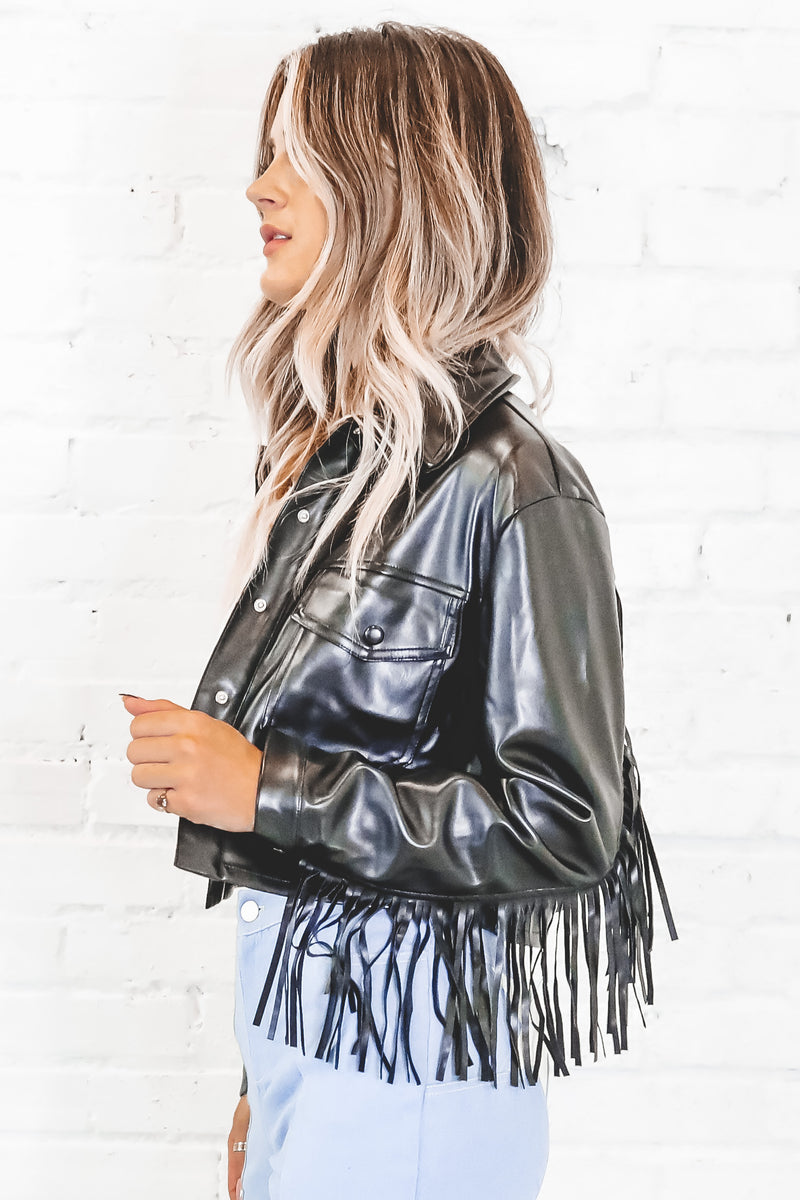 It's A Vibe Black Leather Fringe Jacket