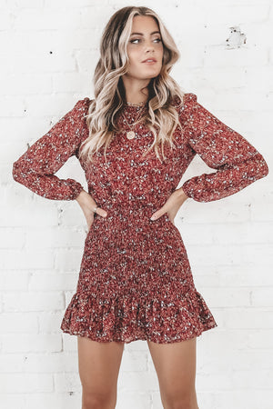 Best Of Luck Burgundy Smocked Floral Dress