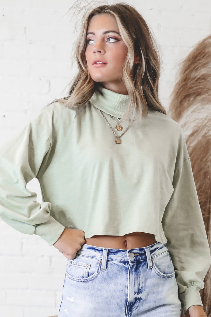Carefree Chic Long Sleeve Pistachio Top