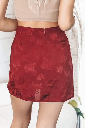 MOTEL Shenka Satin Rose Mini Skirt