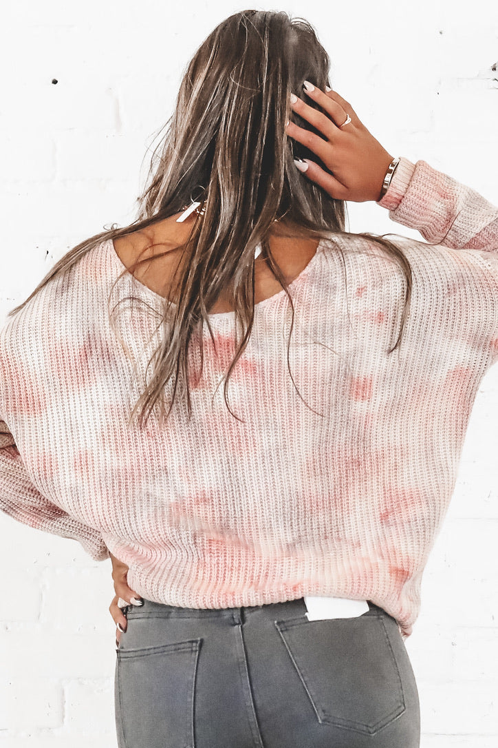 Knot Over It Tie Dye Knit Sweater Top