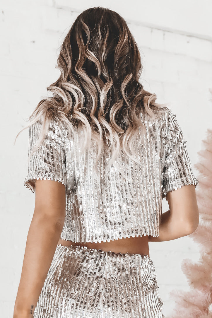 See Ya At Midnight Sequin Crop Top