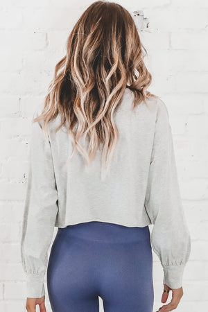 Run This Way Heather Gray Long Sleeve Crop Top