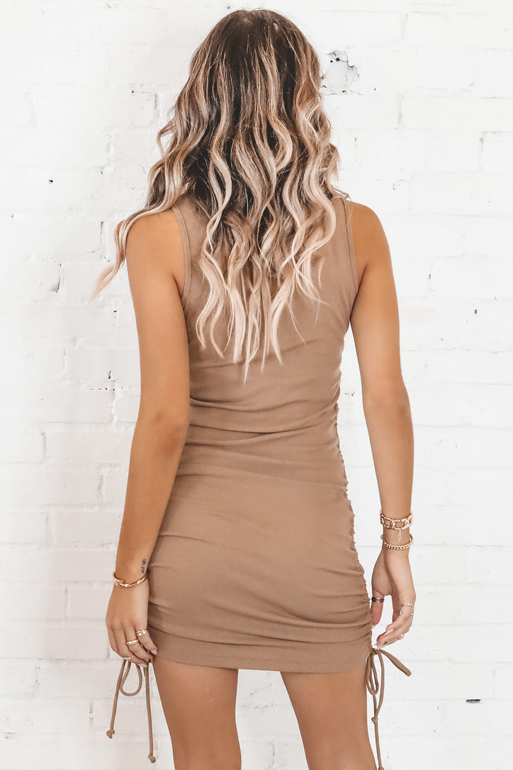 In Your Dreams Camel Ruched Dress