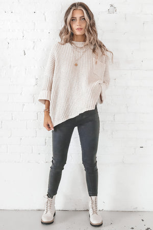Call It Like It Is Cream Knit Sweater