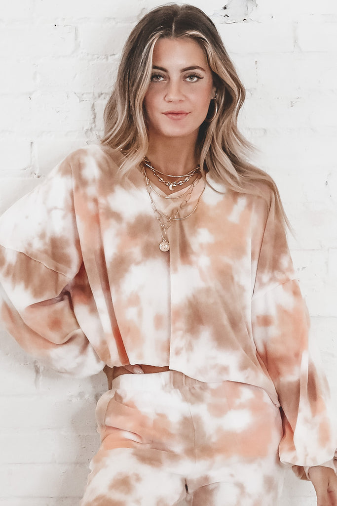 Teach Me Your Ways Peach Tie Dye Slouchy Top