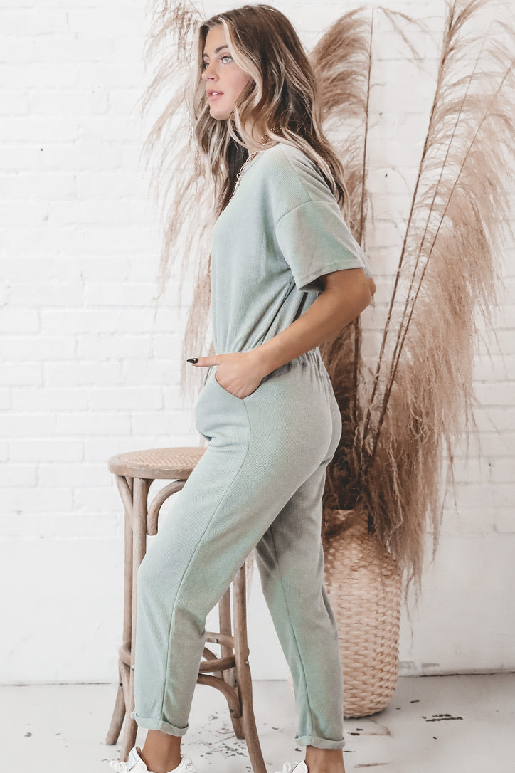People Please Pistachio Jumpsuit