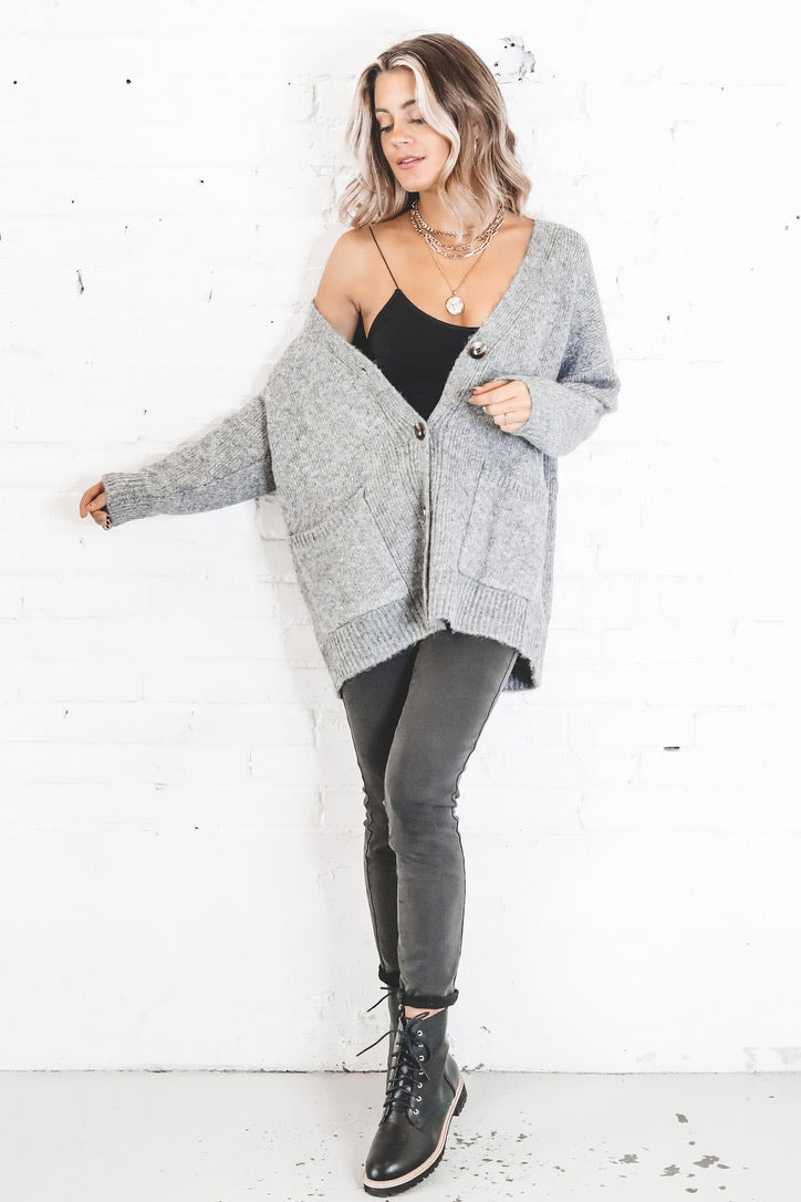 Going Home Gray Long Sleeve Cardigan