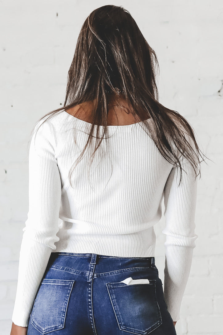 Lost In You White Front Knot Top