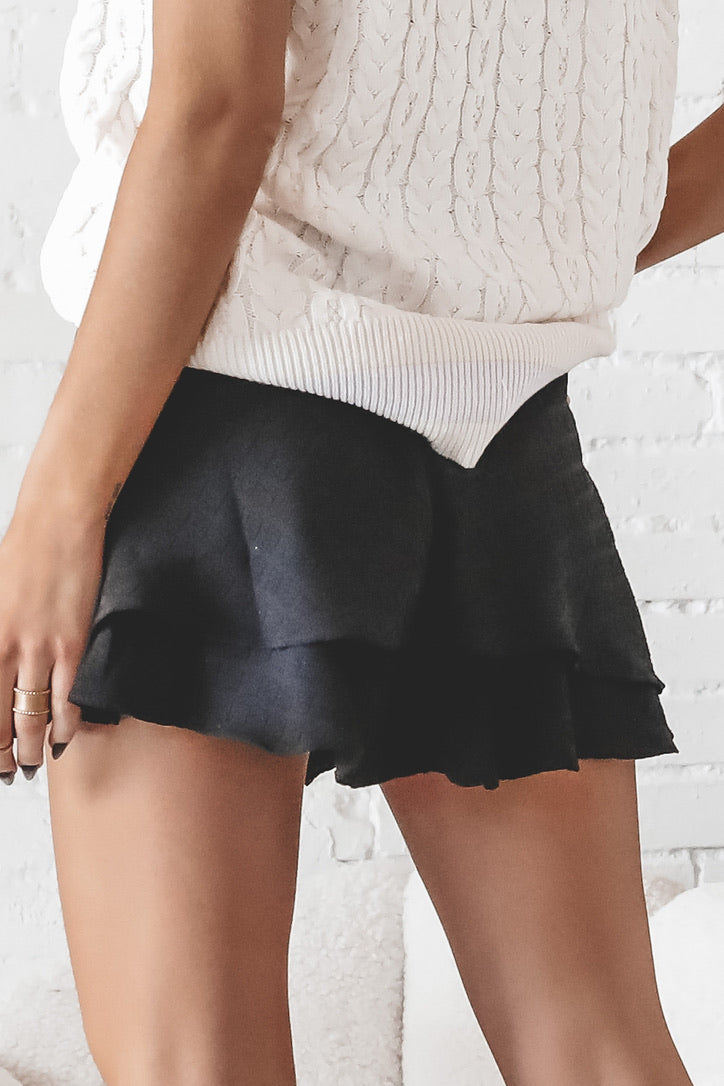 Right Time Black Ruffled Mini Skirt