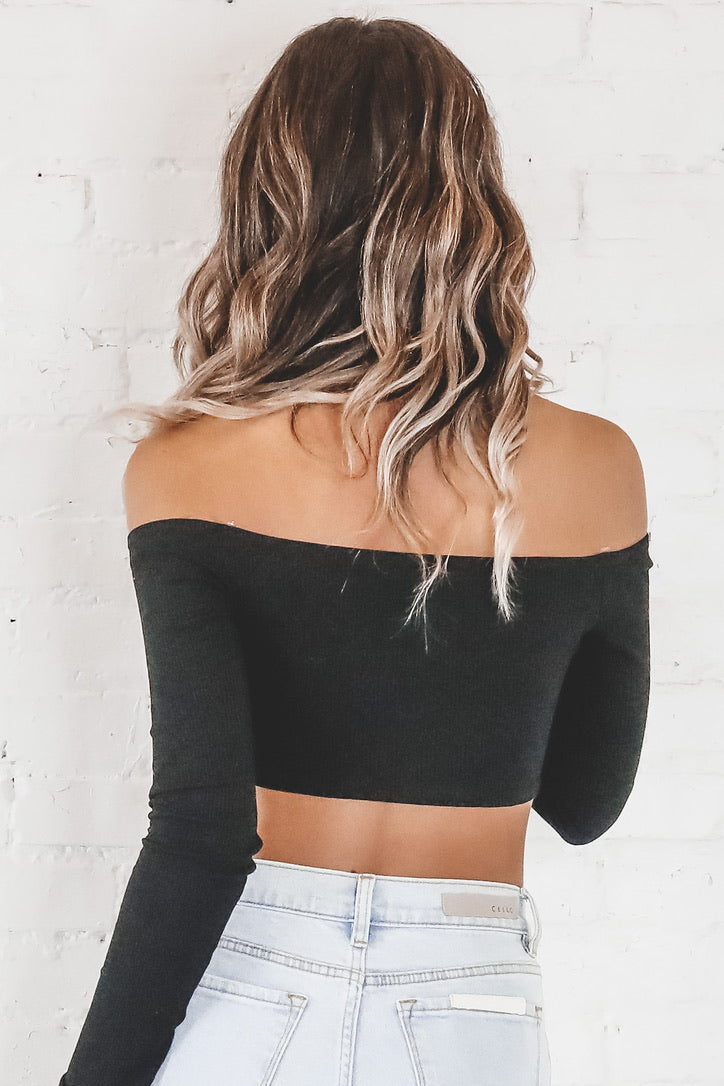 Bend And Snap Black Long Sleeve Bandana Top