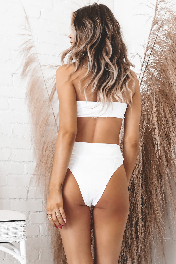 On Island Time White High Waisted Swim Bottoms