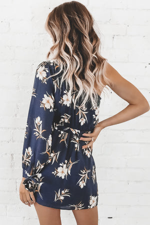 One Way Or Another Navy One Shoulder Dress