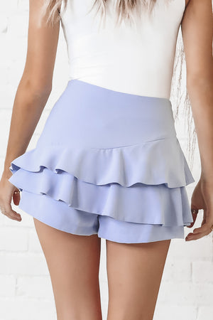 Ruffle My Way Misty Blue Mini Skort