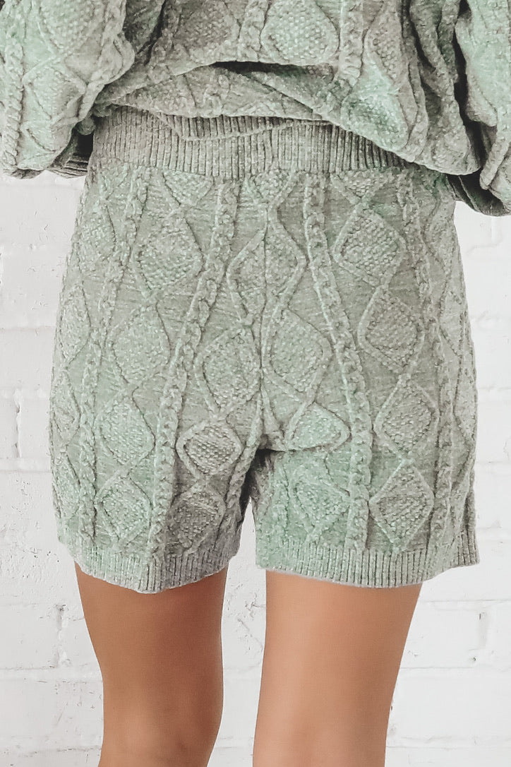 Ice Ice Baby Pistachio Quilted Shorts