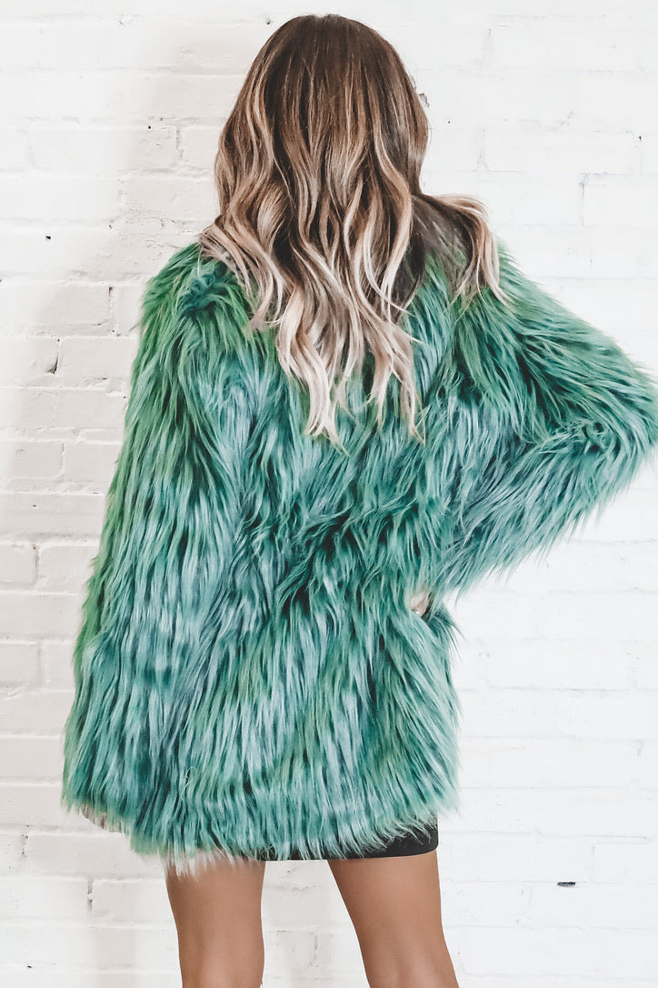 Envy Me Emerald Green Fur Jacket