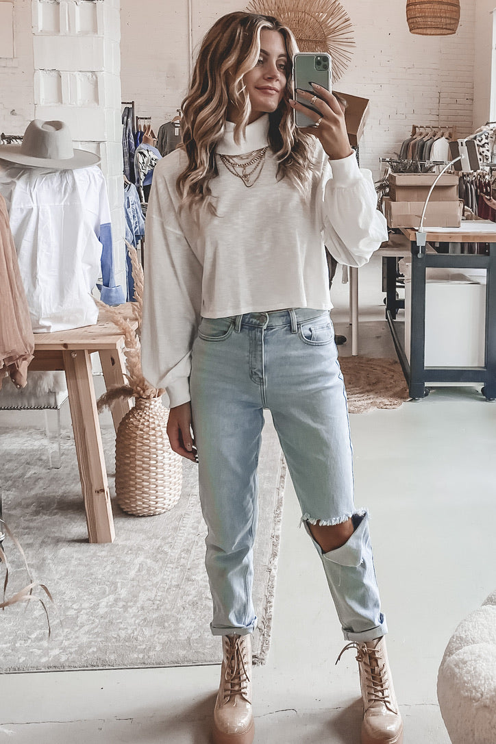 Carefree Chic Long Sleeve White Top
