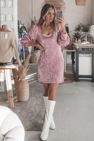 Pinkies Up Pink Sequin Dress