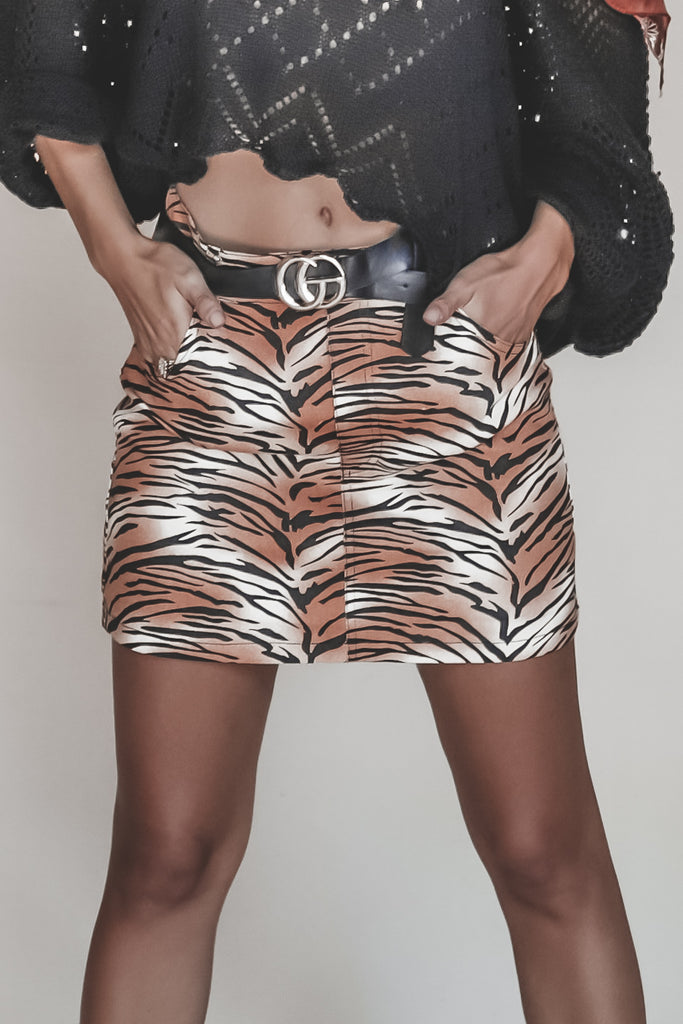 Queen Of The Jungle Tiger Print Mini Skirt