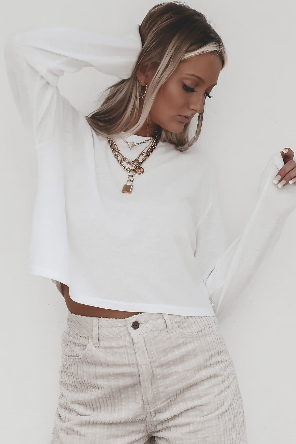 AFENDS Skylar Hemp Cropped Long Sleeve White Tee