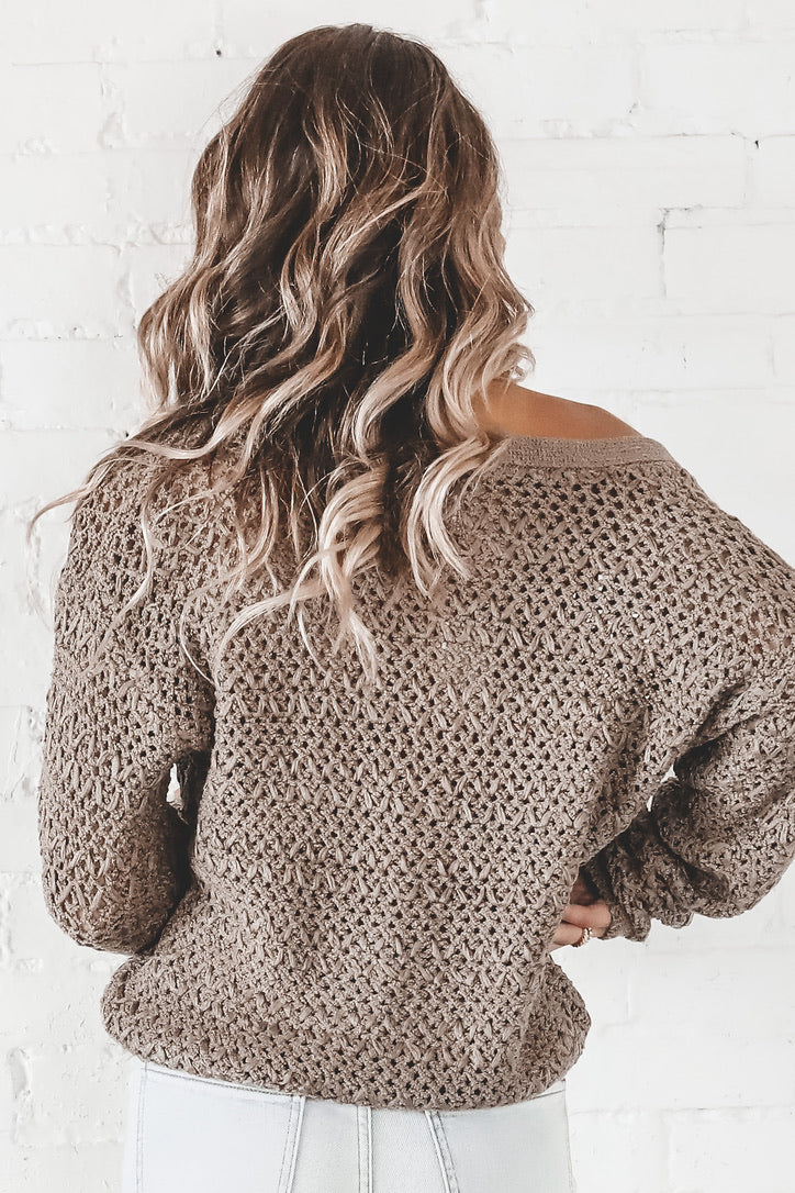 Fall Breeze Mocha Knit Cardigan