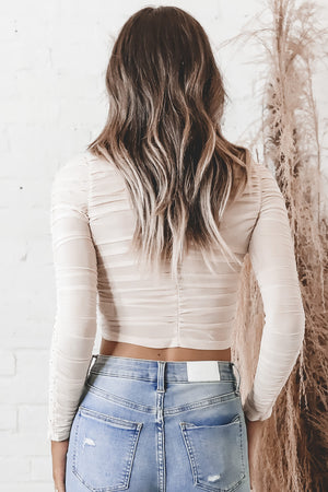 It's The Details For Me Ruffle Nude Top