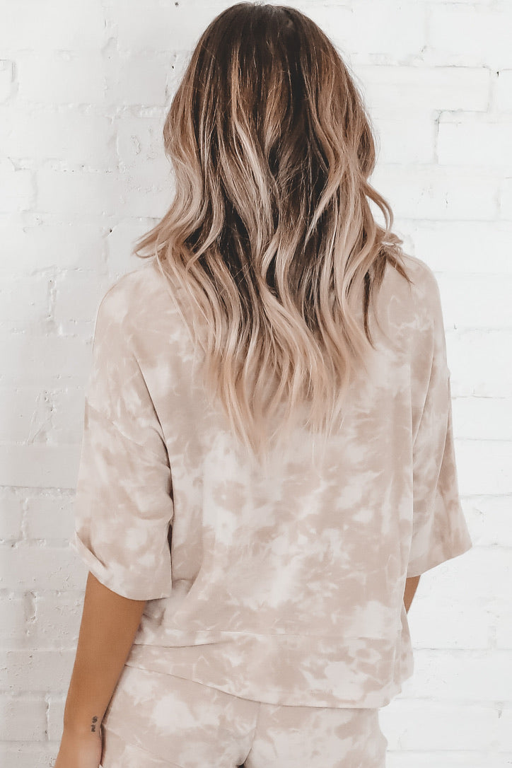 All The Butterflies Taupe Tie Dye Top
