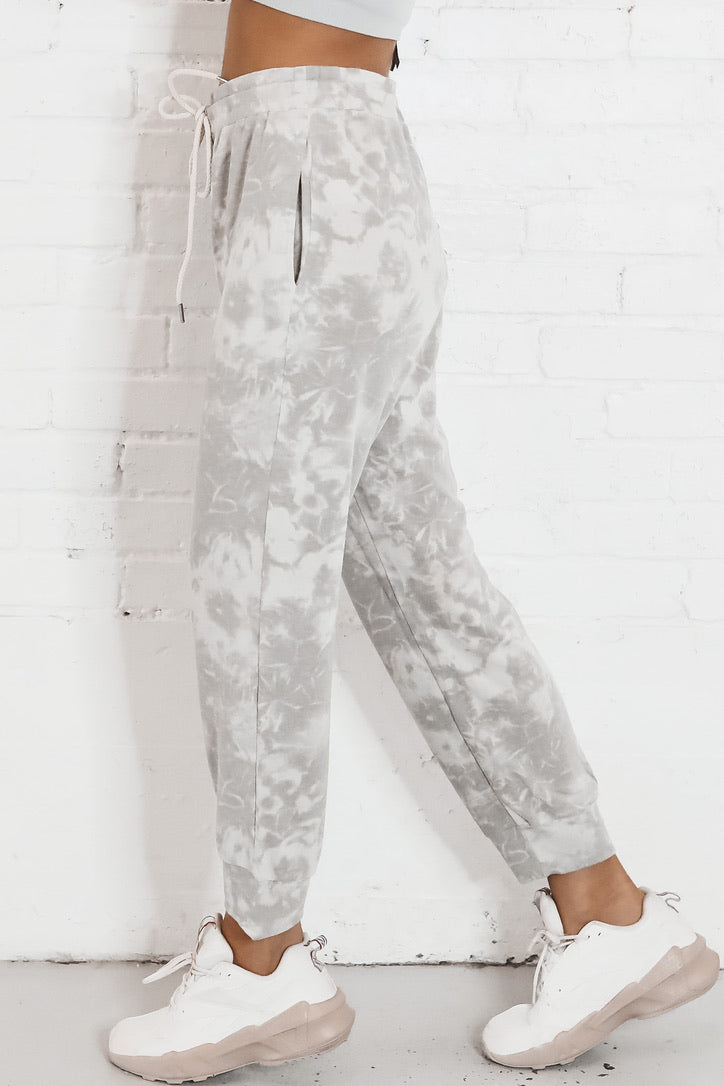 Key To My Heart Gray Tie Dye Joggers