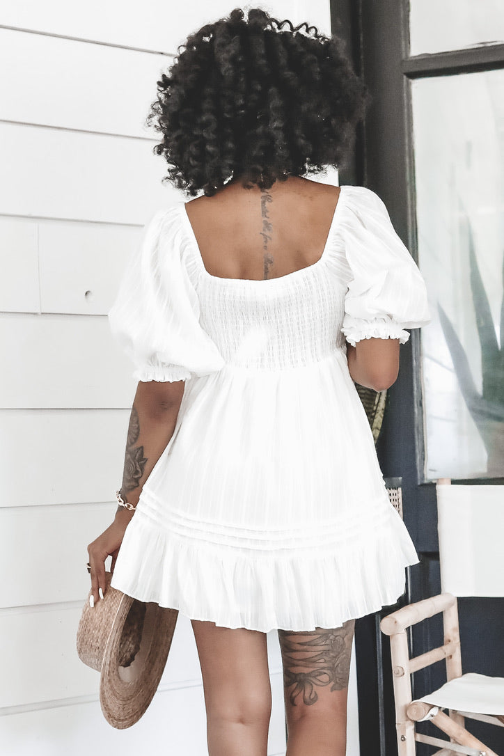 Hey Baby White Babydoll Dress
