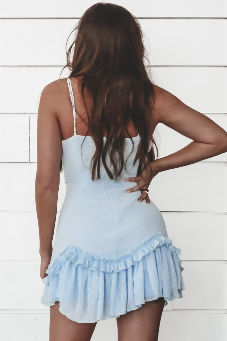 Anything But Blue V Neck Mini Dress