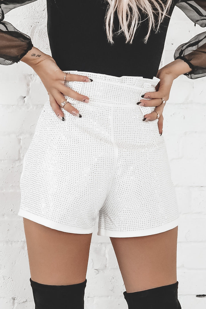 Win You Over White Belted Rhinestone Shorts