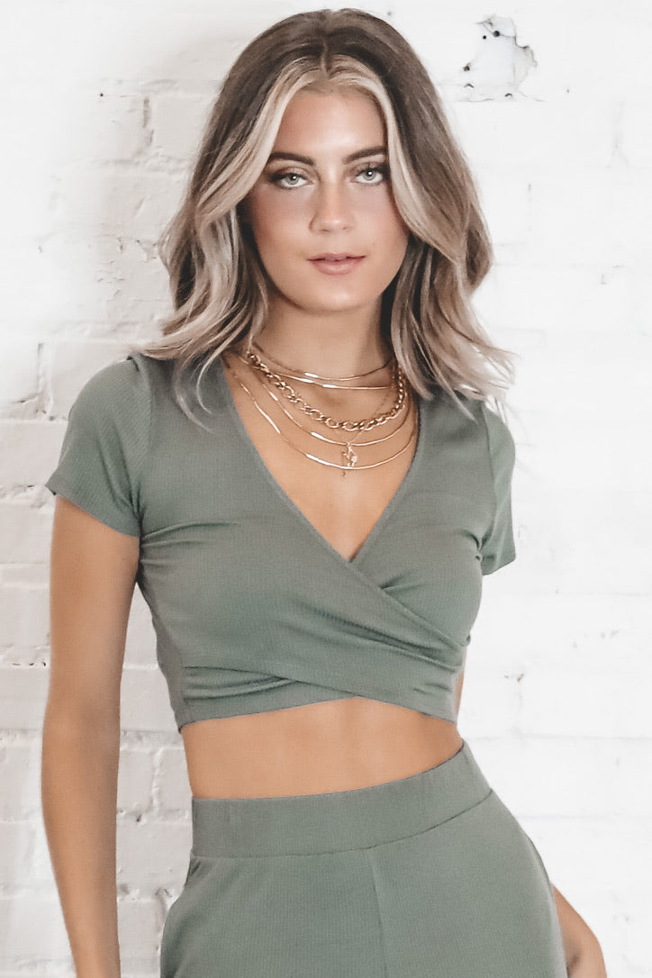 Here We Go Again Olive Overlap Crop Top