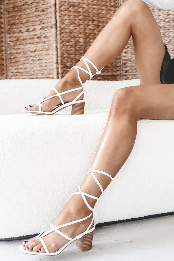 BILLINI Yonda White Lace Up Heel